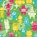 Robot and monsters modern seamless pattern. Royalty Free Stock Photos