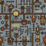 Robot and monsters seamless pattern on blue. Stock Images