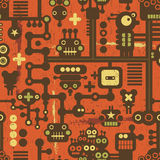 Robot and monsters seamless pattern on red. Stock Photos