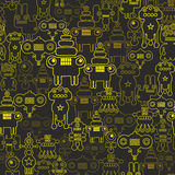 Robot and monsters seamless pattern Royalty Free Stock Images