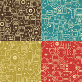 Robot and monsters seamless patterns. Stock Images