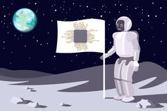Robot on the moon. Banner with a chip. Blue earth in sky.Vector. Stock Image