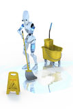 Robot Mopping Floor royalty free stock image