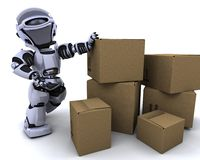 Robot moving shipping boxes Royalty Free Stock Images