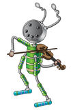 The robot musician. The robot plays the violin. Vector illustration Royalty Free Stock Image