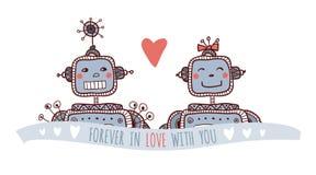Robot nell'amore Fotografia Stock Libera da Diritti