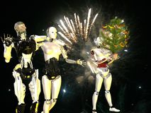 Robot nella vigilia di natale Immagini Stock Libere da Diritti