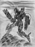 Robot nero di combattimento Illustrazione della fantascienza Immagine Stock Libera da Diritti