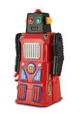 Robot nero e rosso del giocattolo dello stagno Immagini Stock
