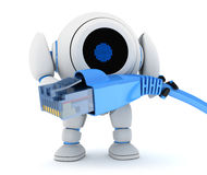 Robot and net cable Royalty Free Stock Photography