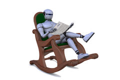 Robot with a newspaper Stock Photos