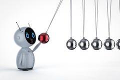 Robot with newton cradle stock illustration