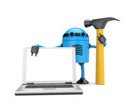 Robot with notebook Stock Image