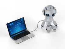 Robot with notebook vector illustration