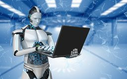 Robot Notebook Networks Futuristic Room Stock Image
