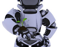 Robot  nurturing a  seedling plant Royalty Free Stock Photos