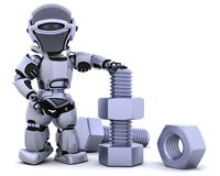 Robot with nut and bolt Royalty Free Stock Photography