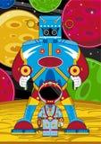 Robot och astronaut för tecknad film jätte- royaltyfri illustrationer