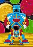 Robot och astronaut för tecknad film jätte- vektor illustrationer