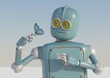 Robot och fjäril förestående en blå bakgrund retro leksak och nat royaltyfri illustrationer