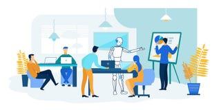 Robot- och folkarbete tillsammans framtida teknologi stock illustrationer