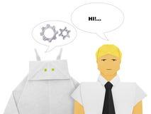 Robot och mänsklig dialog royaltyfria bilder