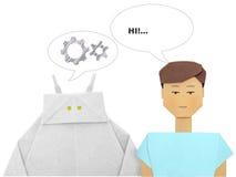 Robot och mänsklig dialog arkivfoto