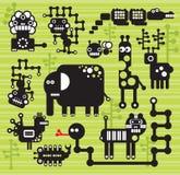 Robot- och monstersamling. Royaltyfri Foto