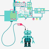 Robot and oil production Stock Image