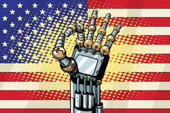 Robot OK gesture, the US flag Royalty Free Stock Photo