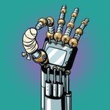 Robot OK okay gesture hand broken bandaged finger Royalty Free Stock Images