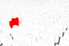 Robot. One red robot Amongst White robot 3d illustation robot  on grey background di-cut with clipping path Stock Images