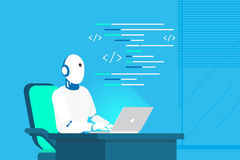 Robot online assistance and machine learning. Flat vector illustration of futuristic robot working with laptop for coding or developing project. Chatbot Royalty Free Stock Photography