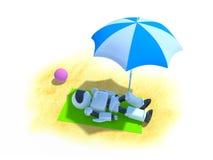 Robot op een strand royalty-vrije illustratie