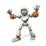 The robot with open arms, is blocking. Royalty Free Stock Photos