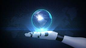 Robot open hand, Roterende aarde, mededeling, de kaart van de netwerkwereld stock footage