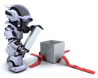 Robot opening gift box with bow. 3D render of a robot opening gift box with bow Stock Photos