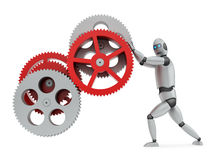 Robot operating gears Royalty Free Stock Photos