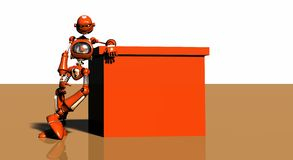 Robot and orange box Stock Image