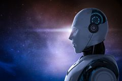 Robot with outer space. 3d rendering artificial intelligence robot with outer space background royalty free illustration