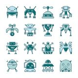 Robot line icon set with displaced fill royalty free illustration