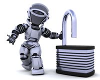 Robot with padlock Stock Photography