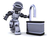Robot with padlock Stock Photography