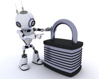 Robot with padlock vector illustration