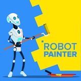 Robot Painter Paints The Wall With Roll Brush Vector. Isolated Illustration. Robot Painter Paints The Wall With Roll Brush Vector. Illustration vector illustration