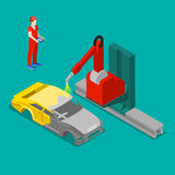 Robot Painting Car Body in Factory. Isometric Stock Image