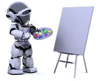 Robot with pallette and paint brush Stock Images