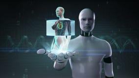 Robot, palma abierta del cyborg, cuerpo femenino delantero de enfoque y corazón de exploración Sistema cardiovascular humano Luz  stock de ilustración