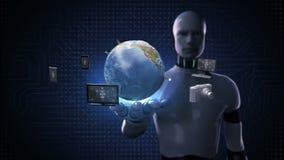 Robot, palma abierta del cyborg, diversos dispositivos móviles que conectan tecnología de comunicación global de la red de la tie stock de ilustración