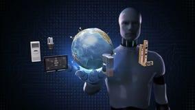 Robot, palma abierta del cyborg, monitor de conexión de la red global de la tierra, microonda, bombilla, lavadora, Internet de co ilustración del vector